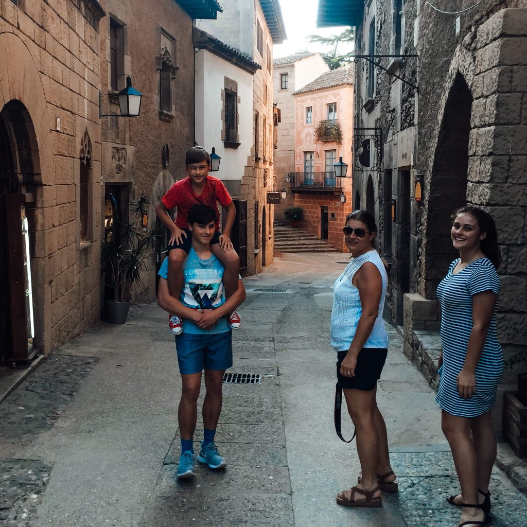 Poble espanyol in barcelona with kids